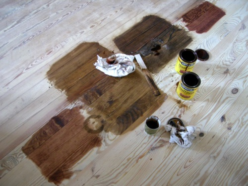 Matching stains on old and new pine floor